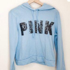 VS PINK Baby Blue Sequin Cropped Hoodie 🦋